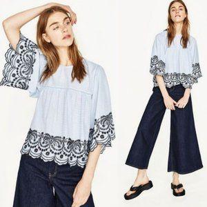 Zara Poplin Top Blue & White Stripe Embroidered